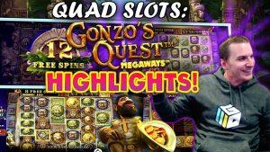 Gonzo's Megaways Slot Quads – 5 Bonuses with INSANE WIN! – large CASHOUT!