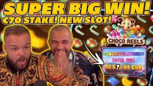 SUPER large WIN on novel SLOT CHOCO REELS! €70 BET! HUGE large WIN on Online Slots!