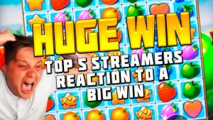 TOP 5 STREAMERS ' REACTION TO A large WIN | FRUIT political party SLOT