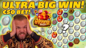 ULTRA large WIN on HONEYRUSH! AWESOME MULTIPLIERS on €50 BET! HUGE WIN on Online Slots!