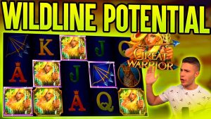 HUGE WILDLINE POTENTIAL ON GREAT WARRIOR BONUS | large WIN ON GAMOMAT ONLINE SLOT MACHINE