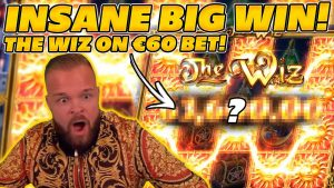 OUR 3rd BIGGEST WIN EVER! THE WIZ! €60 BET SIZE PAYS HUGE! large WIN on Online Slots!