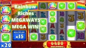 Rainbow Riches Megaways large Win! Super Gem! Mega Win!