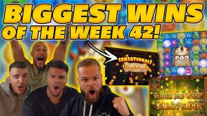 BIGGEST WINS OF THE calendar week 42! INSANE large WINS on Online Slots! TWITCH HIGHLIGHTS!