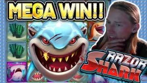 MEGA WIN! RAZOR SHARK large WIN – €5 bet on casino bonus Slot from CASINODADDY
