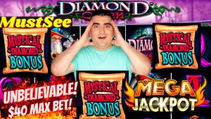 My BIGGEST JACKPOT On Diamond Queen Slot -$40 MAX BET | High boundary Slot Machine MEGA HANDPAY JACKPOT