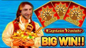 large WIN! CAPTAIN VENTURE large WIN –  Highroll €10 bet on casino bonus Slot from Novomatic