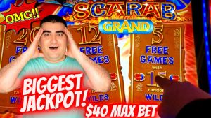✦LARGEST JACKPOT✦ On YouTube For SCARAB GRAND Slot Machine | All Aboard Slot large HANDPAY JACKPOT