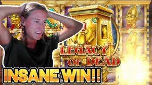 INSANE WIN! LEGACY OF DEAD large WIN – €5 bet casino bonus Slot from CASINODADDY