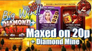 Lil Devil Maxed On 20p. 7 Bonuses & The Heartstopper +large WIN On Diamond Mine + Community large WINS!!