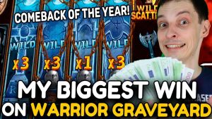 MY BIGGEST WIN ON WARRIOR GRAVEYARD SLOT! COMEBACK OF THE yr! LUCKY BONUS purchase!