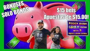 🐽PIGGY BANK large WINS! $15 BETS◼LOTS OF BONUSES! SOLO BONOS