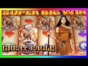 **SUPER large WINS!** Great Eagle Returns WMS Slot Machine Bonus Wins