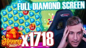 tape WIN! total diamond cover on Honey Rush | Top 5 large WINS inward casino bonus Slot