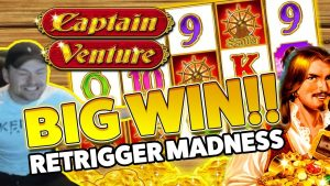 Captain Venture large WIN – HUGE WIN on casino bonus Games session – RETRIGGER MADNESS
