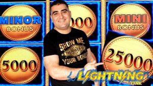 Lightning Link Slot Machine $25 Max Bet Bonus & large WIN   High boundary Live Slot Play At casino bonus