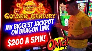 My LARGEST JACKPOT Ever On Dragon Link Slot Machine -$200 A Spin   Slot Machine Mega Handpay Jackpot