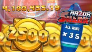Razor Shark 2500 акчалай ири Win Compilation