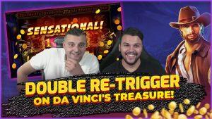 large WIN on Da Vincis Treasure! DOUBLE Retrigger! HUGE WIN on Online Slots!