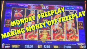 large WIN on Mon FREEPLAY 😱 Making Money off Freeplay🤑 #casino bonus #slotmachines #dragonriches