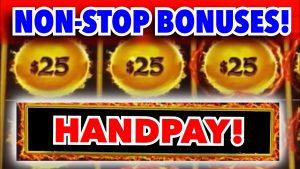 BONUS AFTER BONUS! Golden Century Dragon Link Handpay Jackpot large Win! @ Hard stone Tampa casino bonus