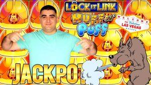 Өндөр холболттой Huff N Puff слот машин ✦HANDPAY JACKPOT✦! Лас Вегас дахь казиногийн урамшуулал Jackpot! Шууд слот тоглуулах