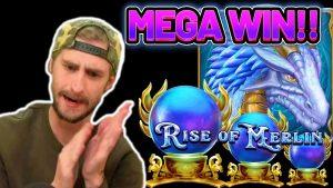 MEGA WIN!! rising OF MERLIN large WIN – €5 BET on casino bonus game from CasinoDaddys live flow
