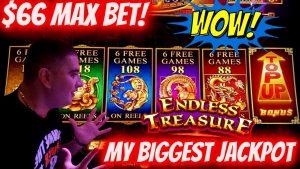 Meu MAIOR JACKPOT no Endless Treasure Slot Machine - $ 66 MAX BET | Slot ao vivo JACKPOT | EP-18
