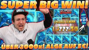 SUPER large WIN on RAZOR SHARK! ALGE pays over 2000x on a 5€ Bet!