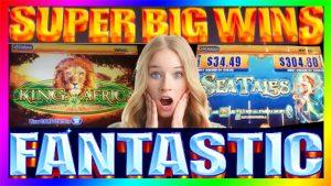 **SUPER large WINS!** Rex of Africa+Sea Tales WMS Slot Machine Bonus Wins