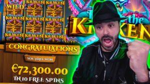 Roshtein large WIN 72 000€ on Release the Kraken Slot  Online casino bonus Biggest Wins of the calendar week