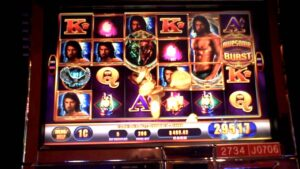 WMS Awesome Burst large Win on Lone Wolf at Sands casino bonus at Bethlehem