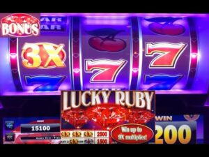novel OLD schoolhouse STYLE 3 REEL casino bonus SLOTS: LUCKY RUBY SLOT PLAY! large WINS! BONUSES! loose GAMES!