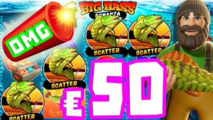 large Bass Bonanza 🐟 Ultra Bonus Hunt MEGA large WIN upwardly to €50 BET 🍀 4 SCATTER 15 SPINS + HUGE FISH‼️