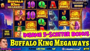 large WIN on 5-scatter BUFFALO Rex MEGAWAYS slots bonus