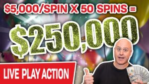 🔴 BIGGEST HIGH-bound SLOT PLAY on YOUTUBE 💥 $250,000 at $5,000/Spin LIVE at Cosmo!