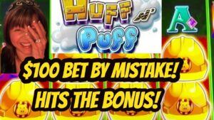 OMG! $100 BET yesteryear  error BONUS! Jackpot on Huff N' Puff