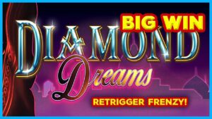 RETRIGGER FRENZY! Quad Shot Diamond Dreams Slot – large WIN BONUS!
