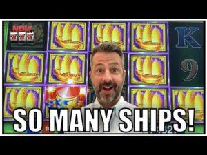 Oh wow! in that location were so many ships! Huge Win on Da Ji Da Li slot machine!