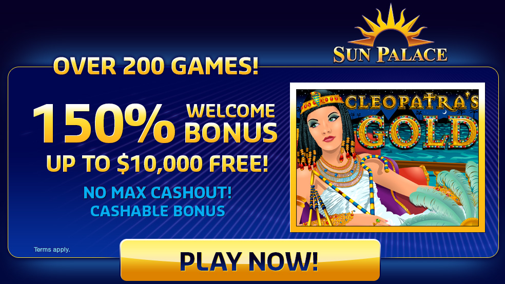 Sun Palace : over 200 games with welcome bonus up to ,000 free