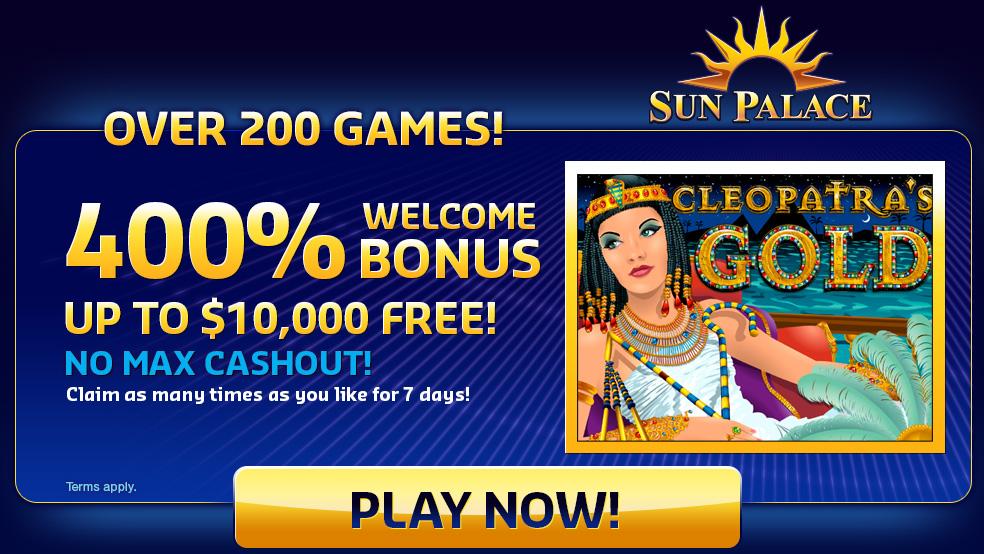 Sun Palace: lebih daripada permainan 200 dengan bonus selamat datang sehingga, 000 percuma
