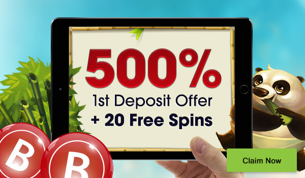 A massive 500% plus 20 Free Spins