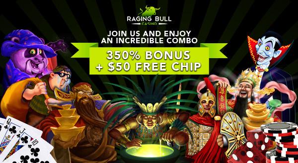 350 Percent Bonus and 50 Dollar Free Chip - Raging Bull
