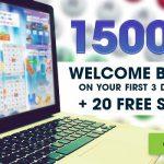 A massive 1500% welcome bonus + 20 Free Spins Extra
