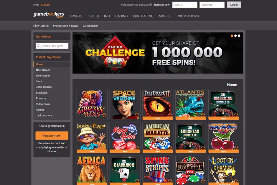 """kazino premija. Iššūkis. Gaukite """"1,000,000 FREE SPINS"""" dalį """"Gamebookers"""" kazino internete"""