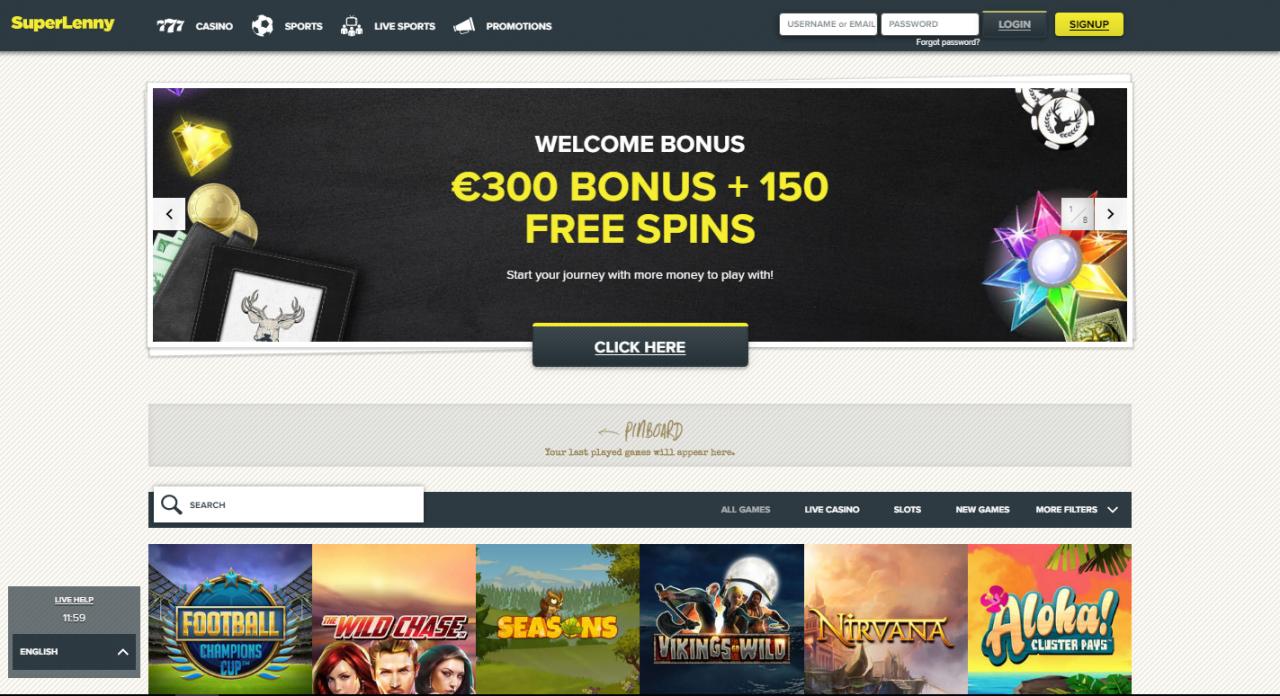 bonus super lenny kazino