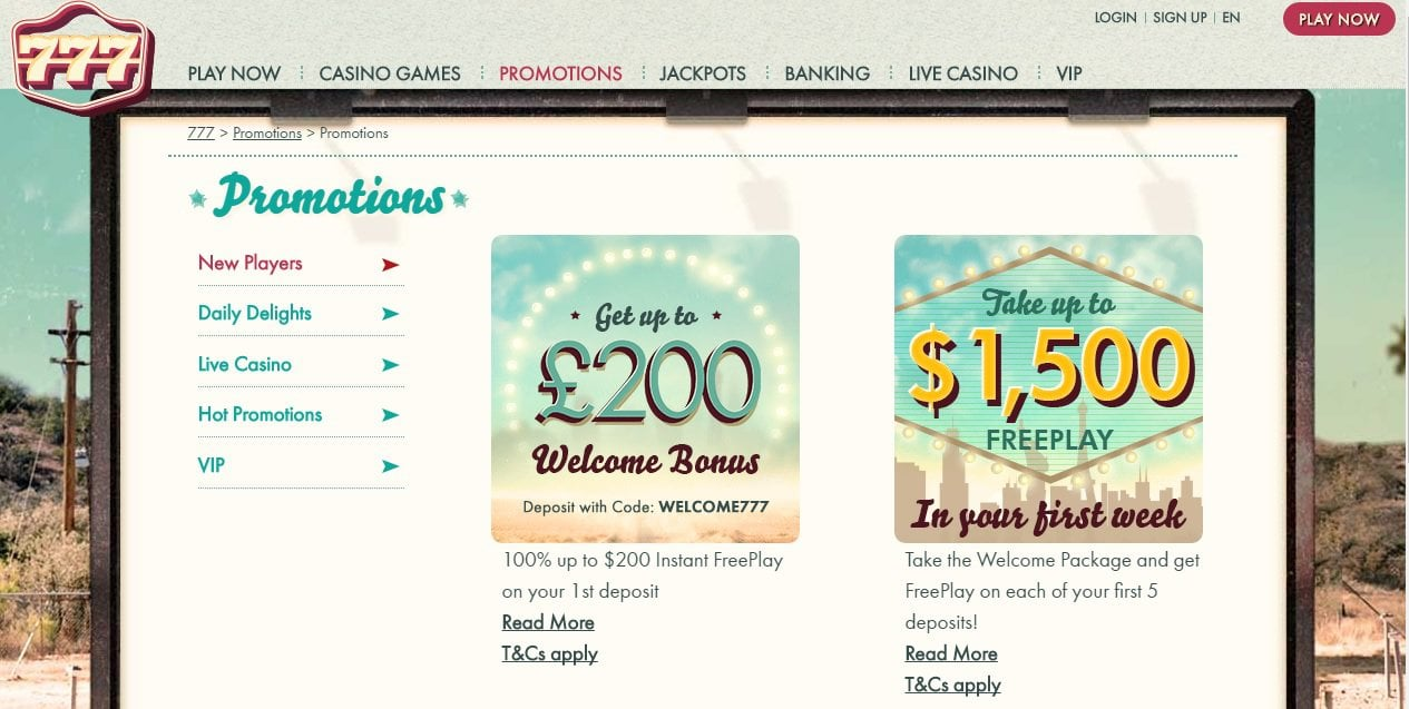 Get up to £200 Welcome Bonus + 00 Free play at 777 Casino