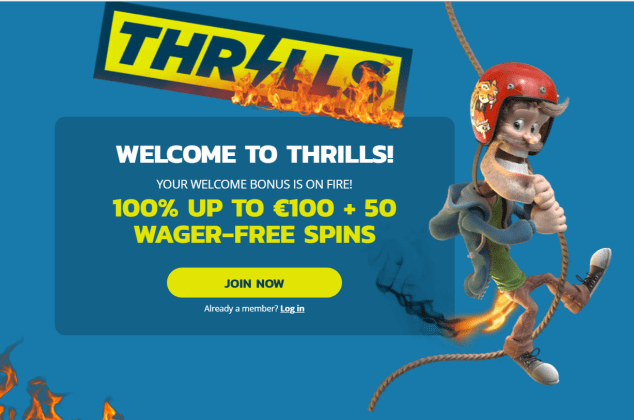 100% up to €100 + 50 Wager-free spins at Thrills Casino