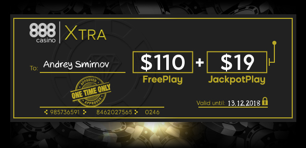 EXTRA FreePlay & JackpotPlay for special members like YOU at 888 Casino