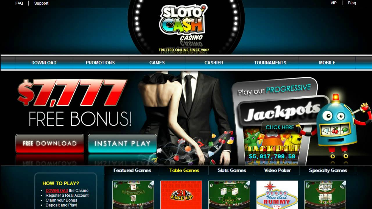 5 – 20 free spins or other bonuses on Monday at Sloto Cash